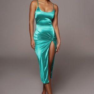 JLUX Satin High Slit Dress-NEVER BEEN WORN